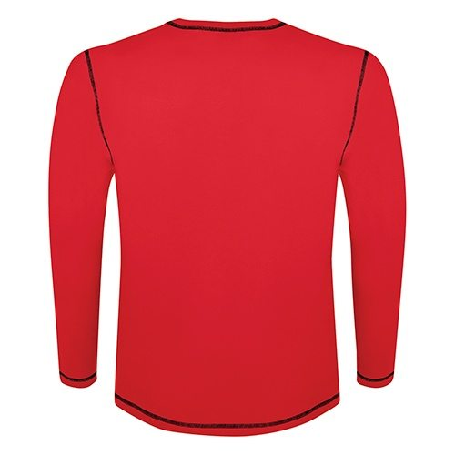 Custom Printed ATC 0821 Active Contrast Stitch Long-Sleeve Tee - True Red / Black - Back View | ThatShirt
