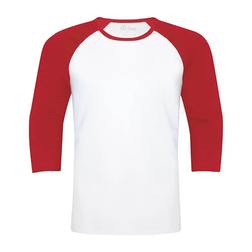 Custom Printed ATC 0822 Active Baseball Tee - White / True Red - Front View | ThatShirt