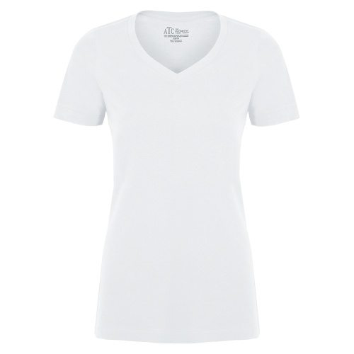 Custom Printed ATC 8001L Ladies' EuroSpun V-Neck Tee - Front View   ThatShirt