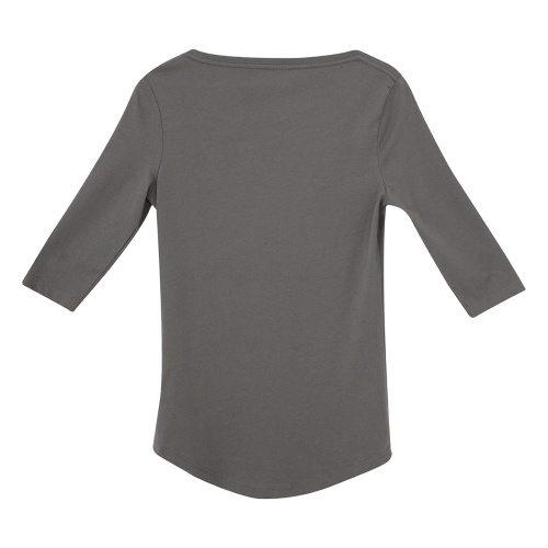 Custom Printed ATC 8003L Ladies' EuroSpun ¾ Sleeve Tee - Coal Grey - Back View | ThatShirt