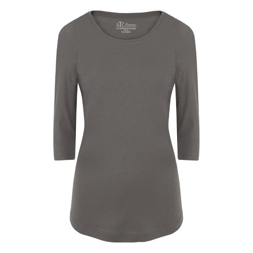 Custom Printed ATC 8003L Ladies' EuroSpun ¾ Sleeve Tee - Coal Grey - Front View | ThatShirt