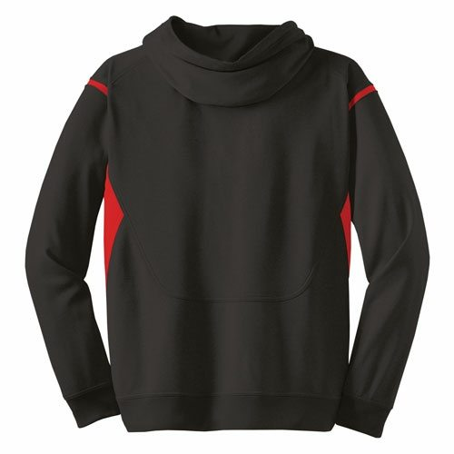 Custom Printed ATC F2201 Ptech Fleece VarCITY Hooded Sweatshirt - Black / True Red - Back View | ThatShirt