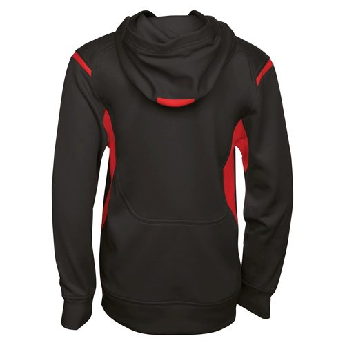 Custom Printed ATC Y2201 Youth Ptech Fleece Varsity Hooded Sweatshirt - Black / True Red - Back View | ThatShirt