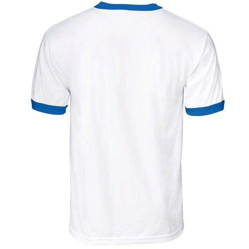Custom Printed Alstyle 1309 Adult Ringer Tee - White / Bright Royal - Back View | ThatShirt