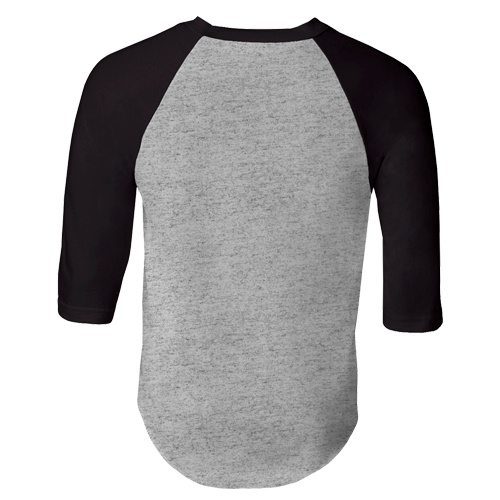 Custom Printed Alstyle 1334 Adult Raglan Baseball Tee - Athletic Heather / Black - Back View | ThatShirt