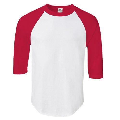 Custom Printed Alstyle 1334 Adult Raglan Baseball Tee - Front View | ThatShirt