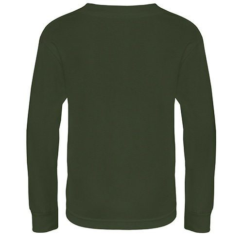 Custom Printed Alstyle 3384 Youth Full Fit Long Sleeve T-Shirt - Military Green - Back View | ThatShirt