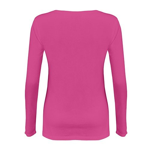 Custom Printed Alstyle 5564 Junior Jersey Ladies' Long Sleeve T-Shirt - Hot Pink - Back View | ThatShirt