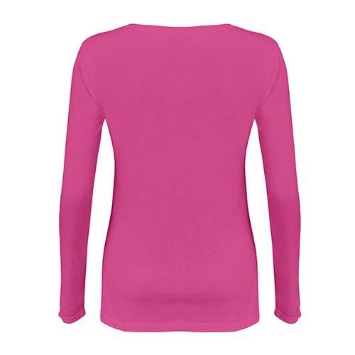 Custom Printed Alstyle 5564 Junior Jersey Ladies' Long Sleeve T-Shirt - Hot Pink - Back View | ThatShirt