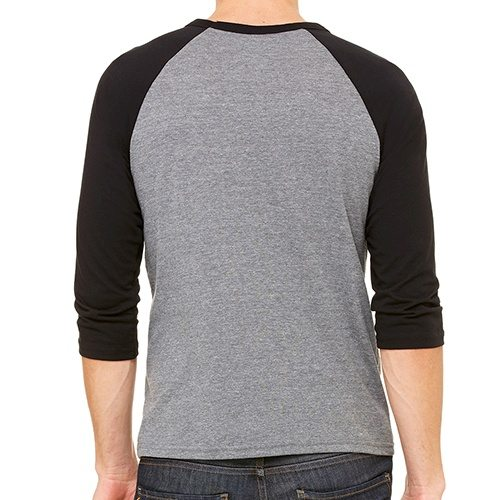 Custom Printed Bella + Canvas 3200 ¾ Sleeve Baseball Tee - 1 - Back View | ThatShirt