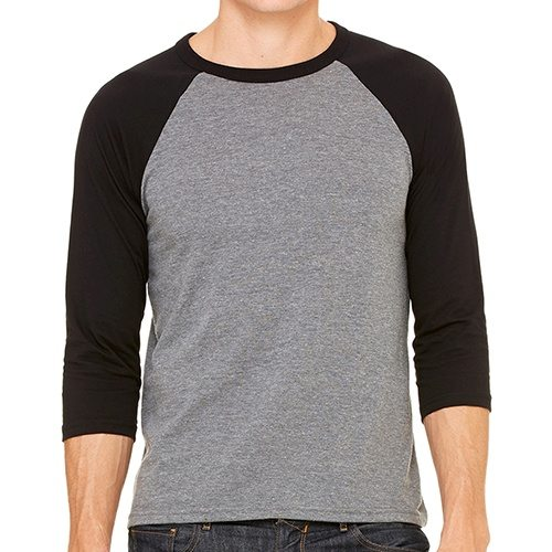 Custom Printed Bella + Canvas 3200 ¾ Sleeve Baseball Tee - Front View | ThatShirt