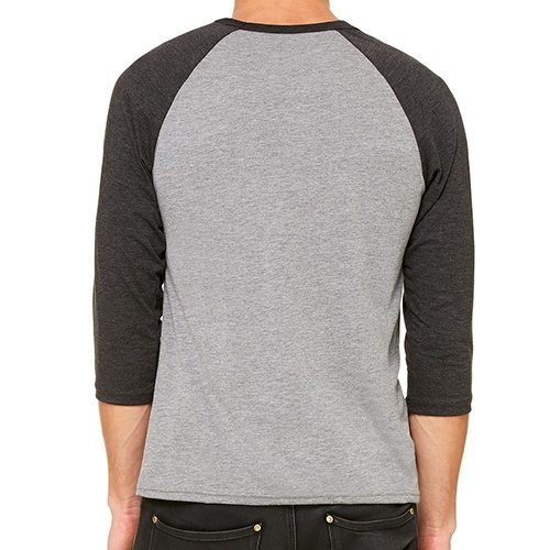 Custom Printed Bella + Canvas 3200 ¾ Sleeve Baseball Tee - 2 - Back View | ThatShirt