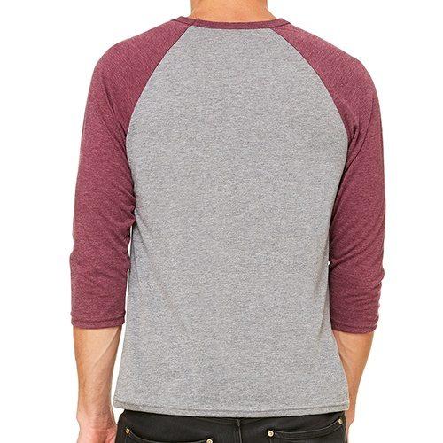 Custom Printed Bella + Canvas 3200 ¾ Sleeve Baseball Tee - 3 - Back View | ThatShirt