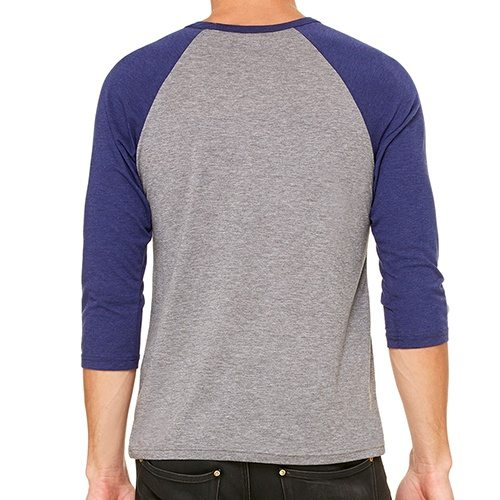 Custom Printed Bella + Canvas 3200 ¾ Sleeve Baseball Tee - 4 - Back View | ThatShirt