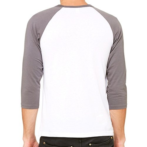 Custom Printed Bella + Canvas 3200 ¾ Sleeve Baseball Tee - 6 - Back View | ThatShirt