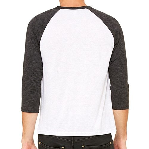 Custom Printed Bella + Canvas 3200 ¾ Sleeve Baseball Tee - 11 - Back View | ThatShirt