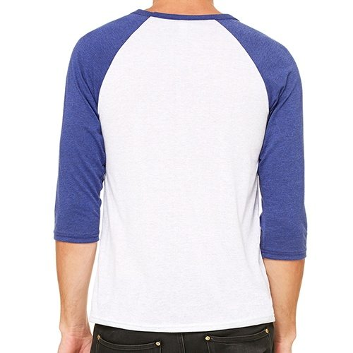 Custom Printed Bella + Canvas 3200 ¾ Sleeve Baseball Tee - 0 - Back View | ThatShirt