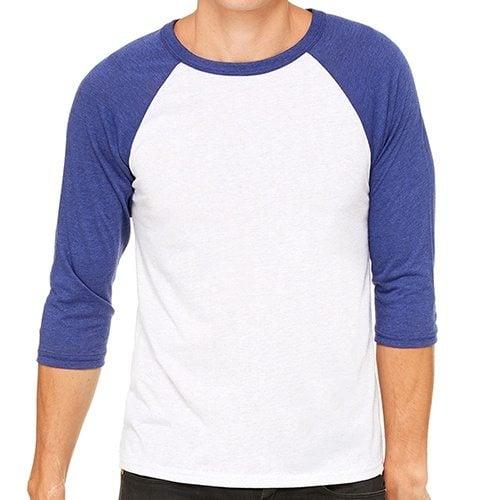 Custom Printed Bella + Canvas 3200 ¾ Sleeve Baseball Tee - Front View | ThatShirt