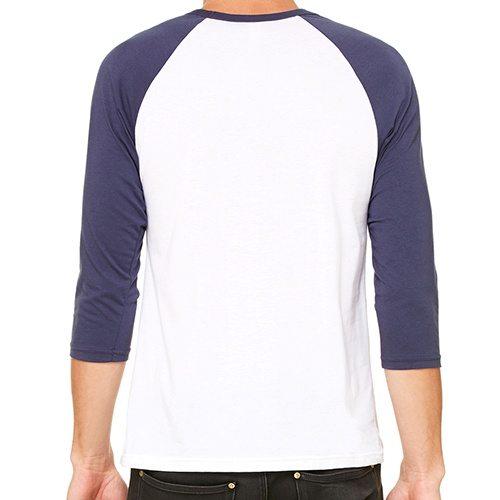Custom Printed Bella + Canvas 3200 ¾ Sleeve Baseball Tee - 8 - Back View | ThatShirt