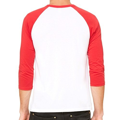Custom Printed Bella + Canvas 3200 ¾ Sleeve Baseball Tee - 9 - Back View | ThatShirt
