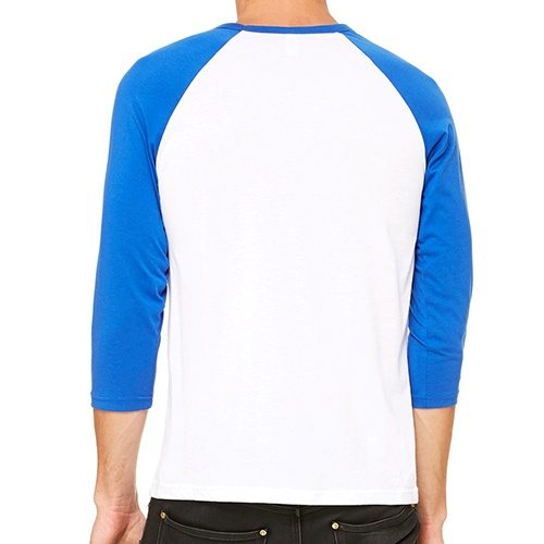 Custom Printed Bella + Canvas 3200 ¾ Sleeve Baseball Tee - 10 - Back View   ThatShirt