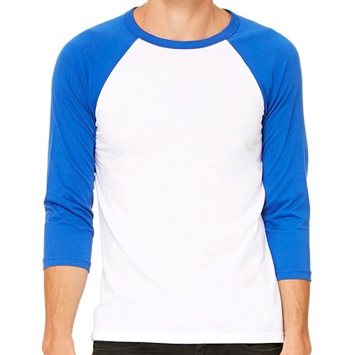 Custom Printed Bella + Canvas 3200 ¾ Sleeve Baseball Tee - Front View   ThatShirt