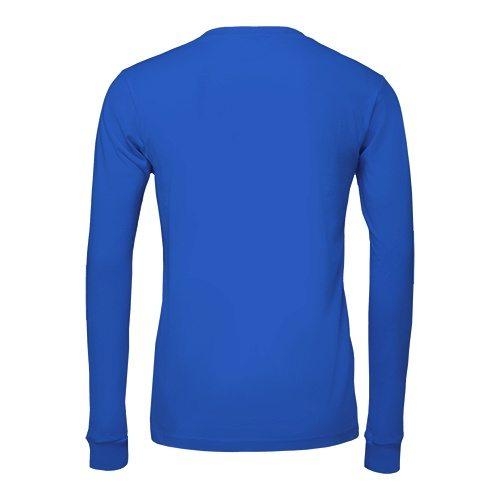 Custom Printed Bella + Canvas 3501 Jersey Long Sleeve Tee - True Royal - Back View | ThatShirt