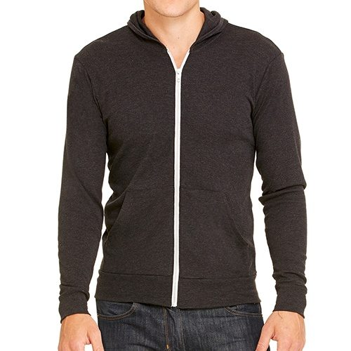 Custom Printed Bella + Canvas 3939 TriBlend Full Zip Lightweight Hoodie - Front View | ThatShirt