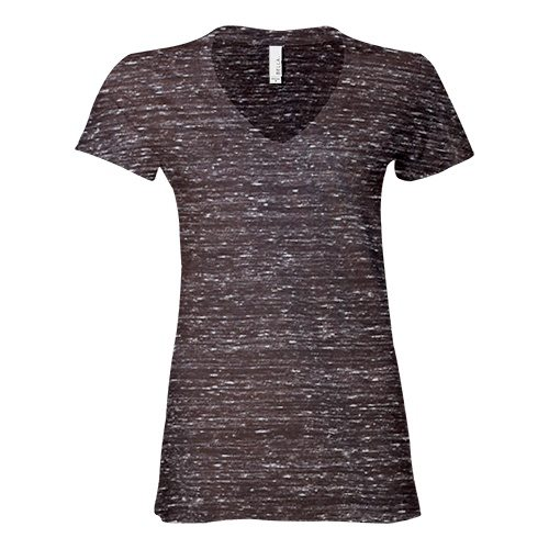 Custom Printed Bella + Canvas 6035 Ladies' Short Sleeve Deep V-Neck Jersey Tee - Front View | ThatShirt