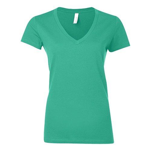 Custom Printed Bella + Canvas 6035 Ladies' Short Sleeve Deep V-Neck Jersey Tee - Front View | ThatShirt