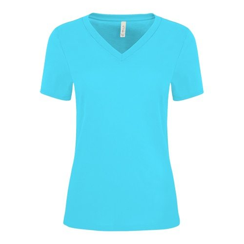 Custom Printed Bella + Canvas 6405 Ladies' Relaxed Jersey Short Sleeve V-Neck Tee - Front View | ThatShirt