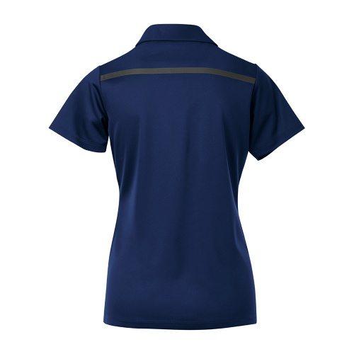 Custom Printed Coal Harbour L4008 Ladies' Everyday Colour Block Sport Shirt - Royal / Steel Grey - Back View   ThatShirt
