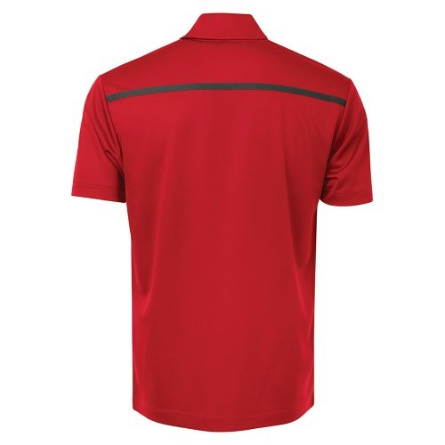 Custom Printed Coal Harbour S4008 Everyday Colour Block Sport Shirt - Red / Steel Grey - Back View | ThatShirt
