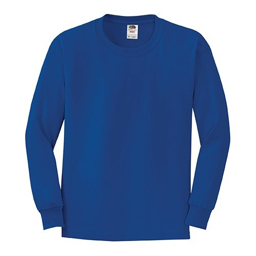 Custom Printed Fruit of the Loom 4930BR Youth Heavy Cotton HD Long-Sleeve T-Shirt - Front View | ThatShirt