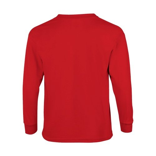 Custom Printed Fruit of the Loom 4930BR Youth Heavy Cotton HD Long-Sleeve T-Shirt - True Red - Back View | ThatShirt