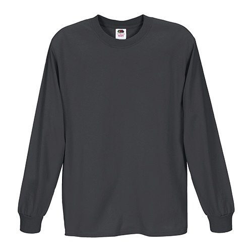 Custom Printed Fruit of the Loom 4930R Heavy Cotton HD Long Sleeve T-shirt - Front View | ThatShirt