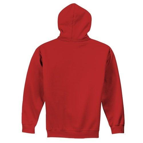 Custom Printed Fruit of the Loom 82230r Supercotton Full Zip Hooded Sweatshirt - True Red - Back View | ThatShirt
