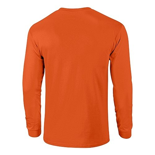 Custom Printed Fruit of the Loom HD6LR Lofteez HD Long-Sleeve T-Shirt - Burnt Orange - Back View | ThatShirt