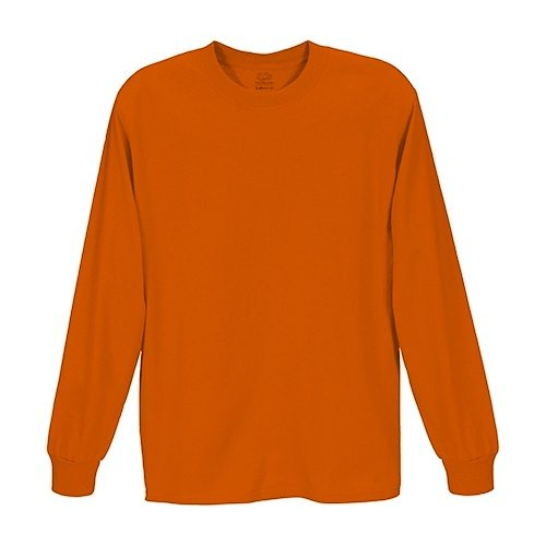 Custom Printed Fruit of the Loom HD6LR Lofteez HD Long-Sleeve T-Shirt - Burnt Orange - Front View | ThatShirt