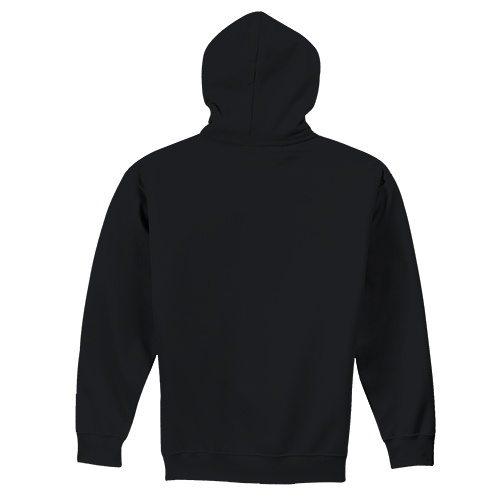 Custom Printed Fruit of the Loom SF73R Sofspun Full Zip Hooded Sweatshirt - Black - Back View | ThatShirt