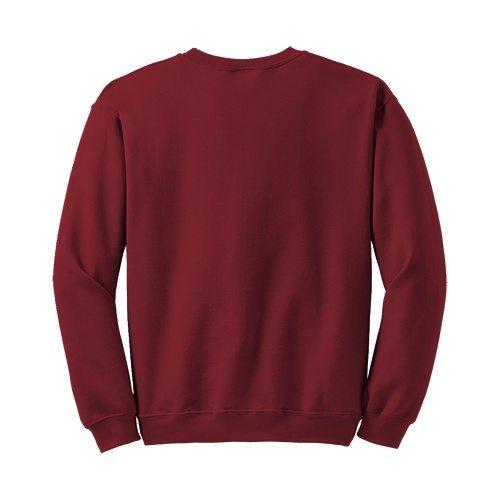 Custom Printed Gildan 1801 Heavy Blend 50/50 Crewneck Sweater - Cardinal Red - Back View | ThatShirt