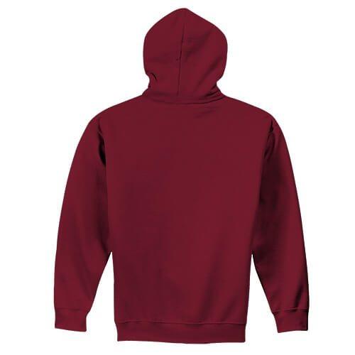 Custom Printed Gildan 1850 Heavy Blend 50–50 Pullover Hoodie - Antique Cherry Red - Back View | ThatShirt