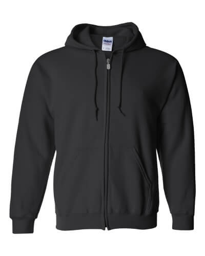 Gildan 1860 Heavy Blend 50--50 Full Zip Hooded Sweatshirt Black Front View