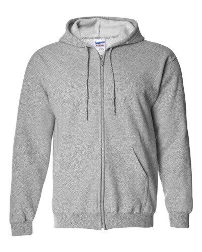 Custom Printed Gildan 1860 Heavy Blend 50/50 Full Zip Hooded Sweatshirt - Front View | ThatShirt