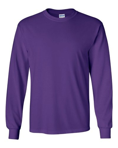 Custom Printed Gildan 2400 Ultra Cotton Long-Sleeve T-Shirt - 18 - Front View | ThatShirt
