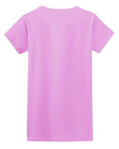Custom Printed Gildan 640L Ladies SoftStyle Junior Fit T-Shirt - Azalea - Back View | ThatShirt