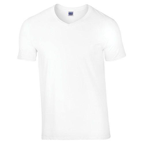 Custom Printed Gildan 64V00 Soft Style V-Neck T-Shirt - Front View | ThatShirt