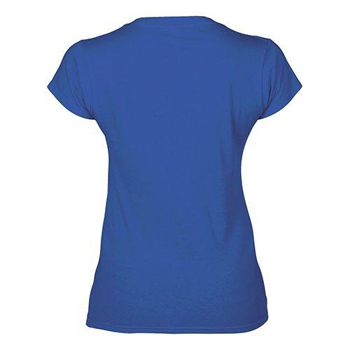 Custom Printed Gildan 64V00L Ladies' Soft Style Junior Fit V-Neck T-Shirt - 5 - Back View   ThatShirt