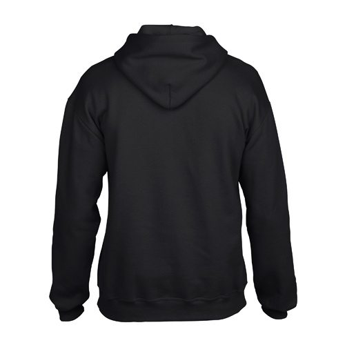 Custom Printed Gildan 92500 Premium Cotton Ring Spun Fleece Hooded Sweater - Black - Back View | ThatShirt