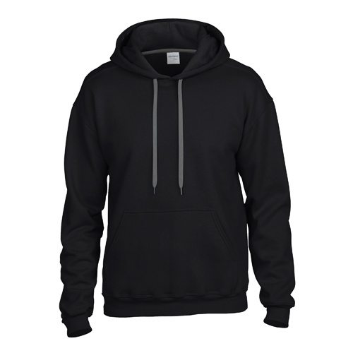 Custom Printed Gildan 92500 Premium Cotton Ring Spun Fleece Hooded Sweater - Black - Front View | ThatShirt